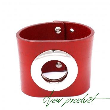 HEXA - kožený náramek v červené  barvě