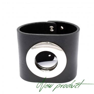 HEXA - kožený náramek v černé barvě
