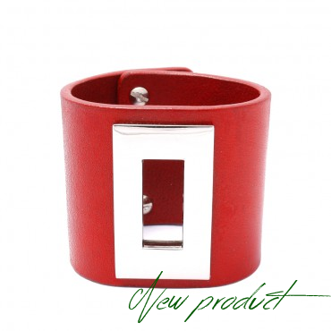 RENO - kožený náramek v červené  barvě