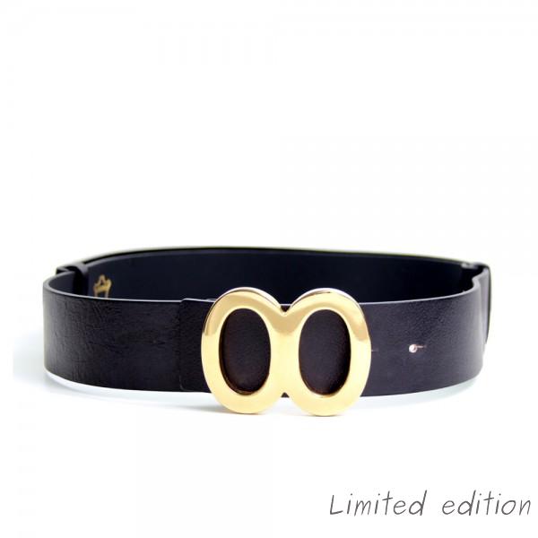 Dámský černý kožený pásek - KOBRO (nastavitelný)