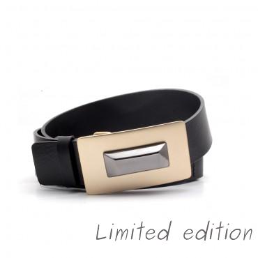 Kožený černý pásek - MEBO (nastavitelný)