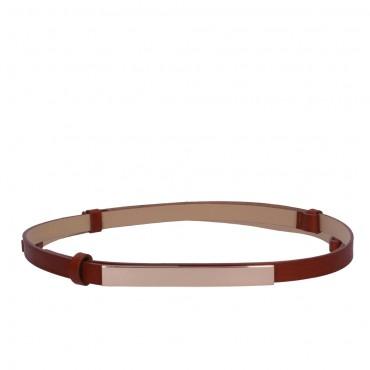 Úzký hnědý kožený pásek - ARTE