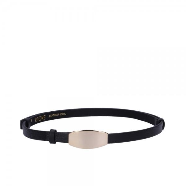 Dámský černý kožený pásek - Mezzi (nastavitelný)