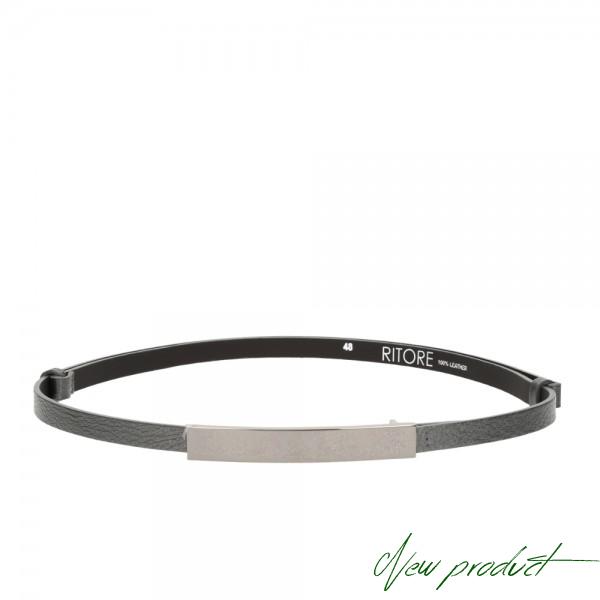 Antracitový  tenký kožený pásek - BRENT -  (nastavitelný)
