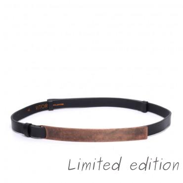 Kožený černý pásek - HERA I (nastavitelný)