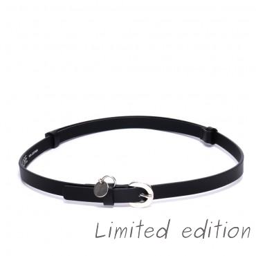 Kožený černý pásek - AINA (nastavitelný)