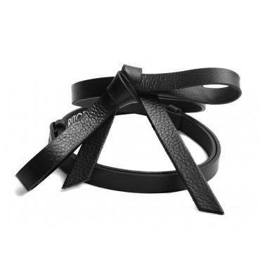 Kožený černý pásek s ležérně uvázanou mašlí - RUBI II (nastavitelný)