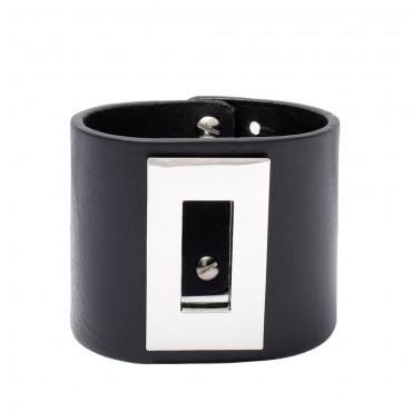 RENO - kožený náramek v černé barvě