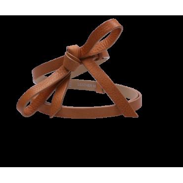Kožený hnědý pásek s ležérně uvázanou mašlí - RUBI II (nastavitelný)