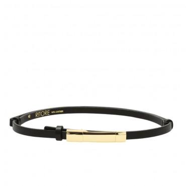 Dámský černý kožený pásek - TAUR (nastavitelný)