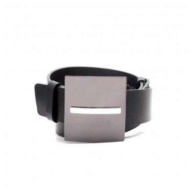 Kožený černý pásek - XABI (nastavitelný)